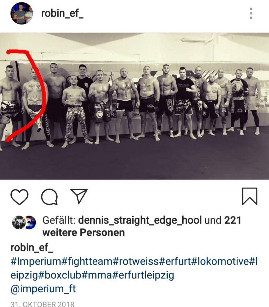 """ganz links: Kevin Noeske beim Training mit Benjamin Brinsas """"Imperium Fight Team"""" in Leipzig"""